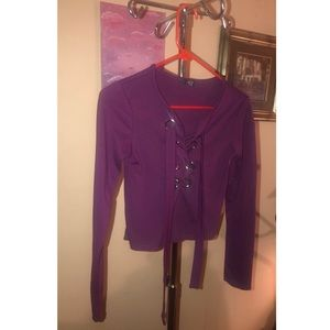 Tops - Lace up front purple top